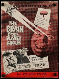 1x041 BRAIN FROM PLANET AROUS/TEENAGE MONSTER pressbook 1957 wacky monster with rays from eyes!