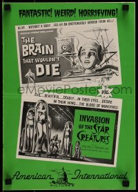 1x042 BRAIN THAT WOULDN'T DIE/STAR CREATURES pressbook 1962 wacky sci-fi horror double-bill!