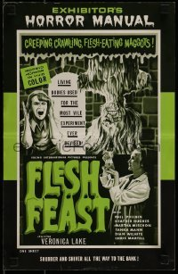 1x047 FLESH FEAST pressbook 1970 Browning art, cheesy horror starring Veronica Lake, of all people!