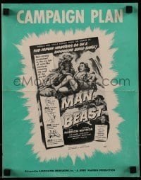 1x052 MAN BEAST pressbook 1956 great artwork of sub-human Yeti monster carrying its victim!
