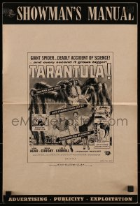 1x057 TARANTULA pressbook 1955 great art of people running from 100 foot high spider monster!