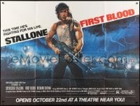 1x061 FIRST BLOOD subway poster 1982 artwork of Sylvester Stallone as John Rambo by Drew Struzan!