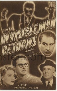1x017 INVISIBLE MAN RETURNS Australian herald 1940 Vincent Price, Hardwicke, H.G. Wells, different!