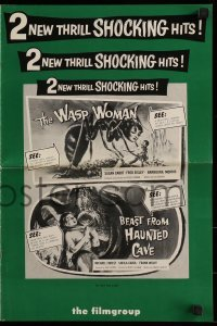 1x059 WASP WOMAN/BEAST FROM HAUNTED CAVE pressbook 1959 fantastic horror/sci-fi double bill!