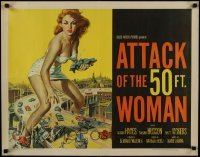 1y033 ATTACK OF THE 50 FT WOMAN 1/2sh 1958 most classic art of enormous Allison Hayes over highway!