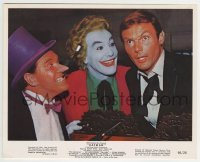 2a034 BATMAN color 8x10 still 1966 Adam West as Bruce Wayne with Penguin Meredith & Joker Romero!