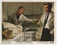2a042 BREAKFAST AT TIFFANY'S color 8x10 still 1961 drunk Audrey Hepburn in kitchen w/Peppard & cat!