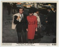 2a039 BREAKFAST AT TIFFANY'S color 8x10 still 1961 Audrey Hepburn & Peppard holding hands on street!
