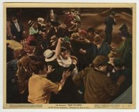 2a054 EAST OF EDEN color 8x10 still #1 1955 James Dean in white T-shirt caught up in stampeding mob!