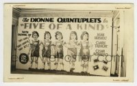 2a011 FIVE OF A KIND 2.75x4.5 photo 1938 theater display w/ gigantic poster of Dionne Quintuplets!