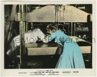 2a057 FLY color 8x10 still 1958 Patricia Owens tries to pull Al Hedison from huge press machine!