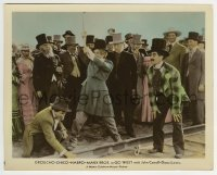 2a062 GO WEST color 8x10.25 still 1940 crowd watches Groucho, Chico & Harpo Marx on train tracks!