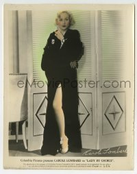 2a069 LADY BY CHOICE color 8x10.25 still 1934 full-length Carole Lombard showing her sexy leg!