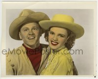 2a074 GIRL CRAZY color 8x10 still 1943 best portrait of Judy Garland & Mickey Rooney!