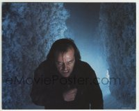 2a080 SHINING 8x10 mini LC 1980 great close up of crazy Jack Nicholson in hedge maze, Kubrick!