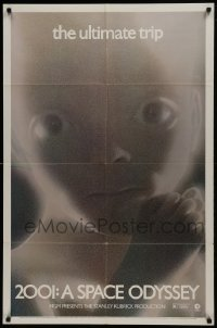 2f007 2001: A SPACE ODYSSEY 1sh R1974 Stanley Kubrick, image of star child, thin border design!