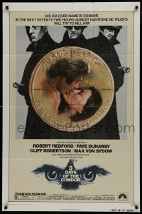 2f010 3 DAYS OF THE CONDOR 1sh 1975 CIA analyst Robert Redford & Faye Dunaway!