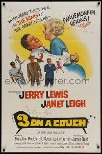 2f011 3 ON A COUCH 1sh 1966 great image of screwy Jerry Lewis squeezing sexy Janet Leigh!