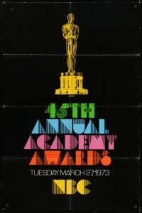 2f012 45TH ANNUAL ACADEMY AWARDS 1sh 1973 NBC, great artwork of the Oscar statuette!
