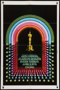 2f013 46TH ANNUAL ACADEMY AWARDS 1sh 1974 great image of Oscar statuette!