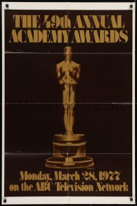 2f014 49TH ANNUAL ACADEMY AWARDS 1sh 1977 ABC, great image of golden Oscar statuette!