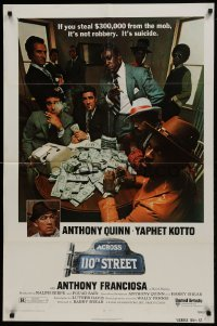 2f024 ACROSS 110th STREET 1sh 1972 Anthony Quinn, Yaphet Kotto has a HUGE pile of money!