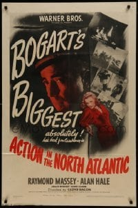 2f025 ACTION IN THE NORTH ATLANTIC 1sh 1943 great close up of Humphrey Bogart + sexy Julie Bishop!