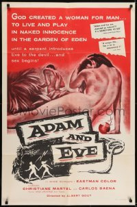 2f026 ADAM & EVE 1sh 1958 sexiest art of naked man & woman in the Mexican Garden of Eden!