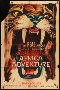 2f031 AFRICA ADVENTURE style A 1sh 1954 this is the REAL Africa, huge close up art of big cat!