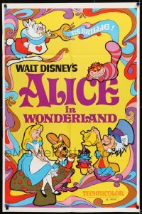 2f036 ALICE IN WONDERLAND 1sh R1974 Walt Disney, Lewis Carroll classic, cool psychedelic art!