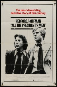 2f038 ALL THE PRESIDENT'S MEN 1sh 1976 Dustin Hoffman & Robert Redford as Woodward & Bernstein!