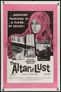 2f039 ALTAR OF LUST 1sh 1971 Roberta Findlay, Harry Reems, burning passions in a flame of desire!