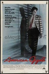 2f041 AMERICAN GIGOLO int'l 1sh 1980 male prostitute Richard Gere is being framed for murder!