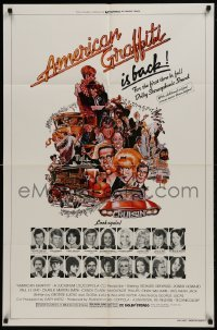 2f042 AMERICAN GRAFFITI 1sh R1978 George Lucas, great wacky Mort Drucker artwork of cast & images!