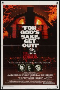 2f045 AMITYVILLE HORROR 1sh 1979 great image of haunted house, for God's sake get out!