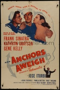2f046 ANCHORS AWEIGH 1sh R1955 art of sailors Frank Sinatra & Gene Kelly with Kathryn Grayson!