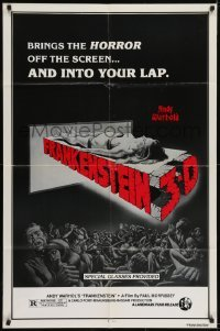 2f050 ANDY WARHOL'S FRANKENSTEIN 1sh R1980s cool 3D art of near-naked girl coming off screen!