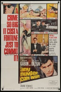 2f056 ANY NUMBER CAN WIN 1sh 1963 Jean Gabin, Alain Delon, Henri Verneuil, sexy showgirl art!