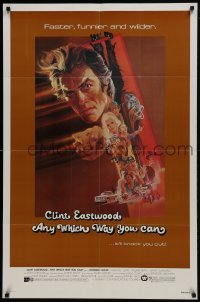 2f057 ANY WHICH WAY YOU CAN 1sh 1980 cool artwork of Clint Eastwood & Clyde by Bob Peak!