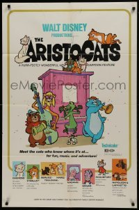 2f059 ARISTOCATS 1sh 1970 Walt Disney feline jazz musical cartoon, great colorful art!