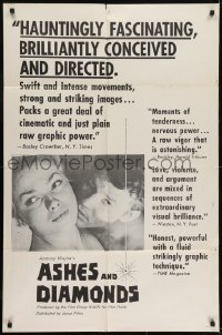 2f063 ASHES & DIAMONDS 1sh 1961 Andrzej Wajda's Popiol I Diament, close up of couple in bed!