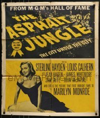 2f064 ASPHALT JUNGLE trimmed 27x32 1sh R1954 Marilyn Monroe, John Huston classic film noir!