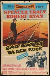 2f069 BAD DAY AT BLACK ROCK 1sh 1955 Spencer Tracy tries to find out what happened to Komoko!