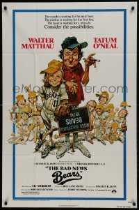 2f070 BAD NEWS BEARS 1sh 1976 Jack Davis art, Walter Matthau coaches baseball player Tatum O'Neal!