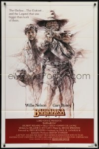 2f075 BARBAROSA 1sh 1982 great art of Gary Busey & Willie Nelson with smoking gun by G.T. Suj!
