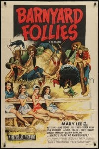 2f076 BARNYARD FOLLIES 1sh R1951 Mary Lee, Rufe Davis country western musical!