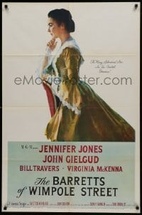 2f077 BARRETTS OF WIMPOLE STREET 1sh 1957 art of pretty Jennifer Jones as Elizabeth Browning!