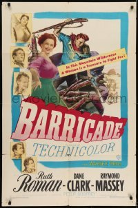 2f078 BARRICADE 1sh 1950 Jack London, Ruth Roman is a treasure to fight for!