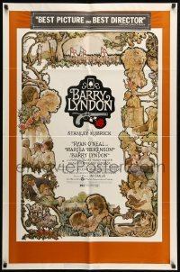 2f079 BARRY LYNDON 1sh 1975 Stanley Kubrick, Ryan O'Neal, great colorful art of cast by Gehm!