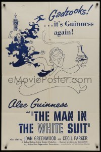 2f565 MAN IN THE WHITE SUIT 1sh R1950s wacky art of scientist inventor Alec Guinness in laboratory!
